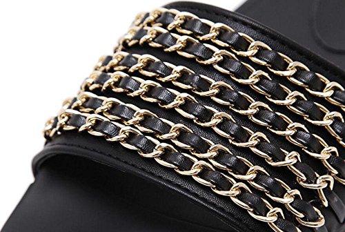 SHINIK Femmes Sandales Open Toe Metal Chaîne Couverture Toe Flat Slippers Mules Black Black