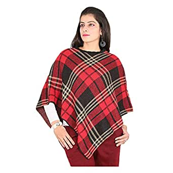 Woolly Women's Checked Knitted Winter Poncho Wrap Shawl Cape_Red #RS1820