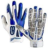 GRIP BOOST Stealth Football Gloves Pro Elite (Blue/White, Large)