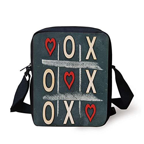 WITHY Xo Decor,Vintage Blackboard with Hugs and Kisses Written by Chalk Love Concept Decorative,Blue Grey Red Cream Print Kids Crossbody Messenger Bag Purse (Xo Kids Tablet)