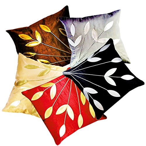 Belive-Me Multi color Cushion Cover (12X12 Inches) Set of 5
