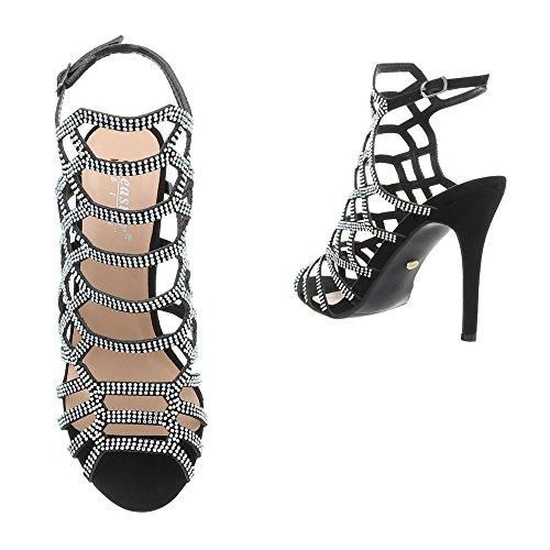 Scarpe da donna Sandali tacco a spillo Sandali col Tacco Ital-Design nero ZJ-10