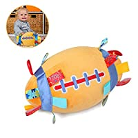 G-Tree Baby Soft Plush Rugby Ball with Rattle, Built-in Bell Sensory Ball with Colourful Tags Infant Newborn Sensory Educational Toy Stuffed Rattle Ball, Great Gift for Kids - Rugby