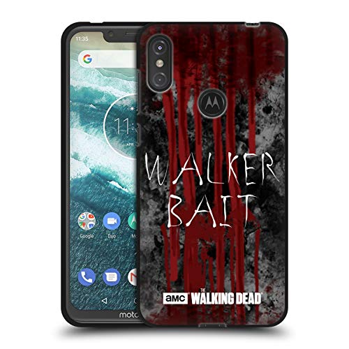 Head Case Designs Offizielle AMC The Walking Dead Walker Köder Typografie Schwarze Soft Gel Huelle kompatibel mit Motorola One Power (P30 Note) -
