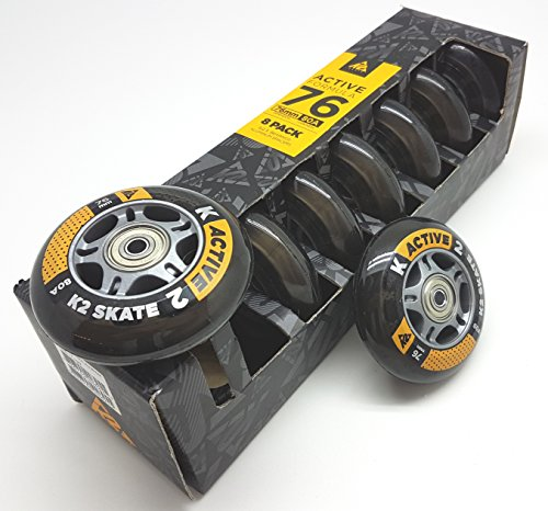 K2 ACTIVE FORMULA SKATE ROLLEN 8 STÜCK 76mm/80A + ILQ5 + ALU SPACER (3053009.1.1.1.76mm-Set)
