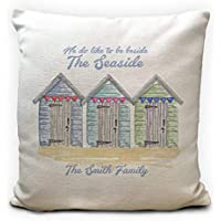 Personalised Seaside Beach Huts Cushion Cover, Family Surname, Heavy Linen Material, 40cm 16 inches