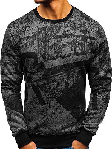 BOLF Herren Sweatshirt ohne Kapuze mit Aufdruck Rundhalsausschnitt Pullover Sport Style J.Style DD659 Dunkelgrau XL [1A1]