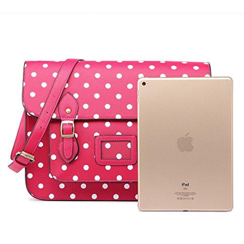 Miss Lulu Brand Vintage Designer Polka Dot Faux Leather Work Briefcase Satchel Bag School Bag (Green Dot)