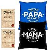 Soreso Design Hochzeitstag Geschenk für Mama und Papa -:- 2 Kissen mit Füllung plus 2 Urkunden im Set -:- Beste Mama der Welt in schwarz - Bester Papa der Welt in royal-blau