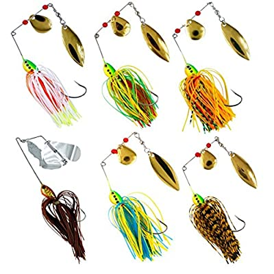 Shaddock Fishing ® 6pcs/lot 18.4g/0.64oz Mixed Wonderful Color Fishing Hard Spinner Baits Lures Kit Spinnerbait Pike Bass Skirt Jig Fishing Lures with Hand Holographic Painted Blades for Saltwater&Fresh Water Fishing by JL Sport