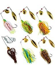 Shaddock Pesca® 6Pack 18,4g/0.64oz mixto Wonderfull Color Pesca duro Spinner cebos Kit Spinnerbait Pike Bass con hojas holográfico pintado a mano para agua salada Pesca