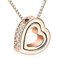 shankming giuramento, 18K Love Forever lettering doppio cuore collana ciondolo in cristallo con catena lunga