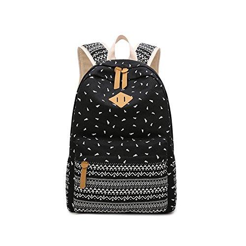 (Schulstudent-große Rucksack-Buch-Taschen-Reise-Laptop-Rucksack für College-mittlerer hoher Student, Schulter-Bote-Tasche, Segeltuch-Umhängetasche, Unisexsport im Freien, schwarz)