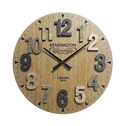 Mobili Rebecca Reloj para Pared Reloj Decoración Madera Redondo Estilo Vintage Ø 60 cm (Cod. RE6137)