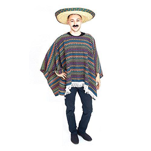 Charm Rainbow Mexiko Poncho Bunte Umhang Mottoparty Verkleidung Universalgröße