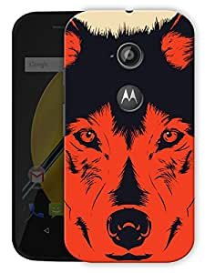 "Humor Gang Red Wolf Abstract Printed Designer Mobile Back Cover For ""Motorola Moto E2"" (3D, Matte Finish, Premium Quality, Protective Snap On Slim Hard Phone Case, Multi Color)"