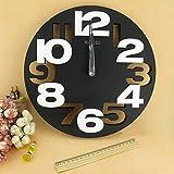 HUSHIJIAN Grand Nombre 3D Rond Horloge Murale Numérique Grande Horloge Murale...
