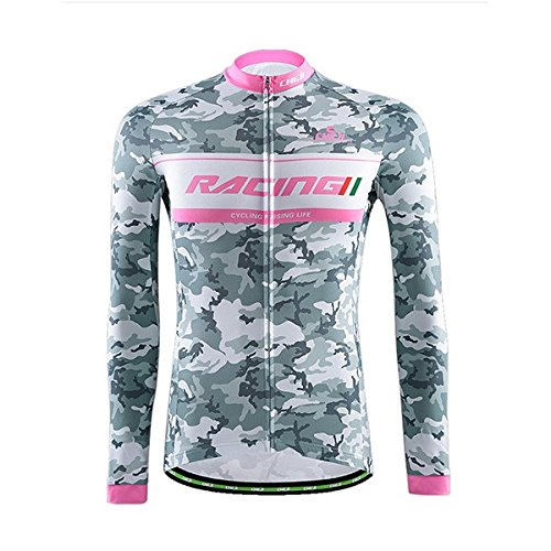 MaMaison007 Juegos de deportes bici bicicleta ciclismo ropa manga larga camuflaje ropa - verde camuflaje blanco-XL
