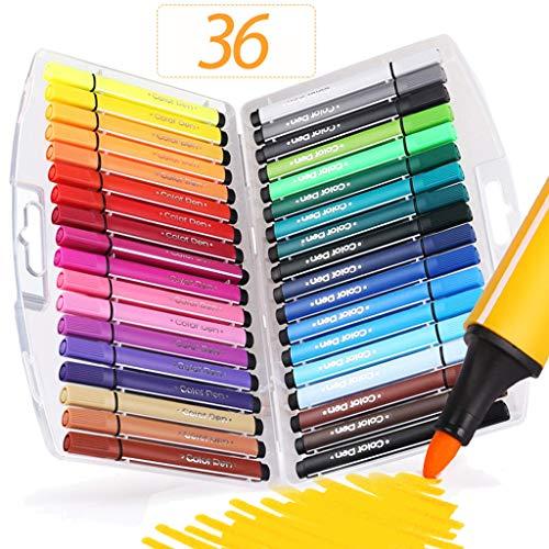 Sayeec 36 colori assortiti, atossici, con punta fine in fibra, con custodia pieghevole in dotazione, ideali per libri da colorare da adulti, manga, fumetti, per fare esercizi di calligrafia e schizzi