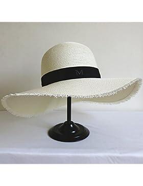 SituMi Señoras Verano sombrero para el sol Sombrero de Paja plegable disquete ala ancha playa grande, blanco