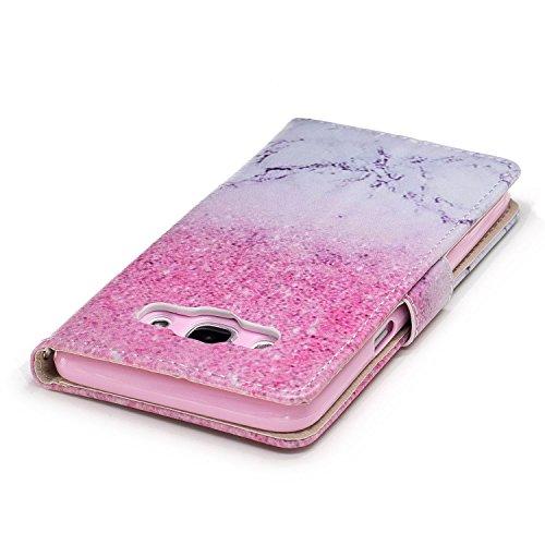 Linvei Samsung Galaxy J7(2016) Etui Cuir Coque,[Conception de Motif Coloré][PU Cuir Housse][Portefeuille Flip][Stand Soutien/Card Slot /Fermeture Magnétique]-Plante tropicale verte Glitter rose et marbre blanc