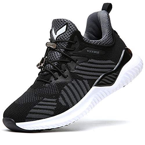Scarpe Sportive Bambini e Ragazzi Scarpe da Corsa Ginnastica Respirabile Mesh Running Sneakers Fitness Casual(A-Nero,39 EU)