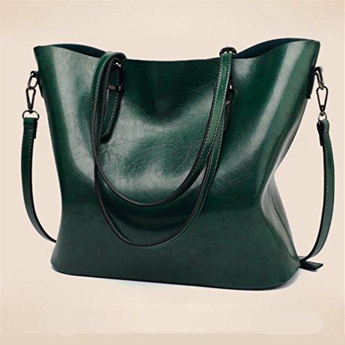 Pahajim 2017 neue Öl Wachs Pitot Tasche, große Raum Handtasche Umhängetasche Grün