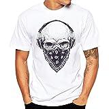 T-Shirts,Honestyi 2018 Frühling Sommer Herren T-Shirt Totenkopf Kapitän Captain Skull Bard Hipster Original Spirit Seemann Slim Fit Baumwolle Top Bluse Sweatshirts,Oversize S-XXXXL (XXXXL, Weiß)