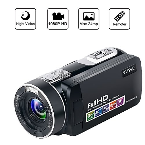 Videokamera Kamera Camcorder Full HD Digital Kamera 1080p 24,0 MP Vlogging Kamera Nachtsicht Pause-Funktion mit Remote-Controller