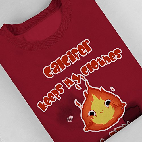 Cute Calcifer Howls Moving Castle Women's Sweatshirt Cherry Red