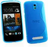 Kit Me Out UK TPU Gel Case for HTC Desire 500 - Blue S Line Wave Pattern