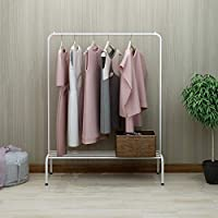 DUMEE Metal Garment Rack Heavy Duty Indoor Bedroom Clothing Coat Racks Hanger With Top Rod and Lower Storage Shelf Clothes Rack With 1-Tier Shelves Living Room Hallway Black Bronze Pink White