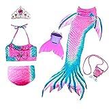 JoyChic Meerjungfrau Flosse zum Schwimmen Meerjungfrauen Bikini Set Badeanzüge Badenbkleidung Kostüm Meerjungfrauenflosse für Mädchen Monoflosse Inkl