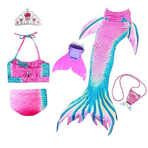 Starjerny JoyChic 3PS Mädchen Cosplay Kostüm Badenbkleidung Meerjungfrauen Schwimmanzug Badeanzüge Meerjungfrauenschwanz für Schwimmen Kinder Farbewahl