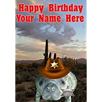 Manatee j767 Cowboy Sheriff Fun Cute Happy Birthday A5 Personalised Greeting card POSTED BY US GIFTS FOR ALL 2016 FROM DERBYSHIRE UK