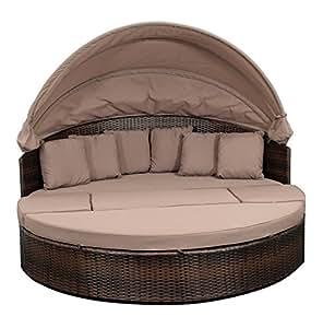 funktions relaxinsel riva alu polyrattan dunkelbraun mit abdeckhaube. Black Bedroom Furniture Sets. Home Design Ideas