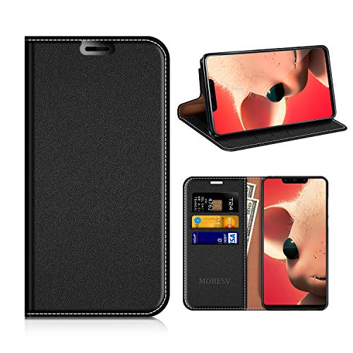 MOBESV Huawei P Smart+ Hülle Leder, Huawei P Smart Plus Tasche Lederhülle/Wallet Case/Ledertasche Handyhülle/Schutzhülle mit Kartenfach für Huawei P Smart+ 6.3 Zoll - Schwarz