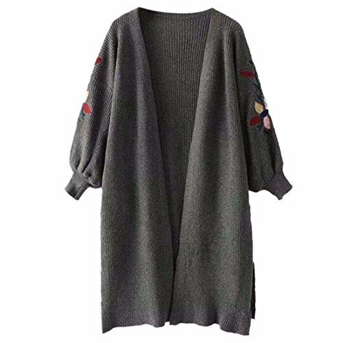 QIYUN.Z Femmes Casual Lanterne Manches Fleur Broderie Cardigan Chandail Tricot Outwear Gris