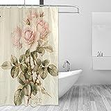 Bad Vorhang für die Dusche 152,4x 182,9cm, Vintage Shabby Chic Pink Rose Blumen, Polyester-Schimmelfest-Badezimmer Vorhang