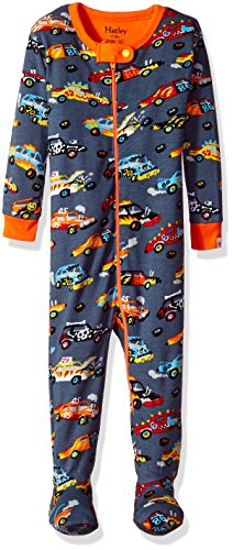 Hatley Baby-Jungen Schlafstrampler 100% Organic Cotton Footed Sleepsuit, Grau (Monster Cars 020), 80 (Pyjamas Pjs Footed)