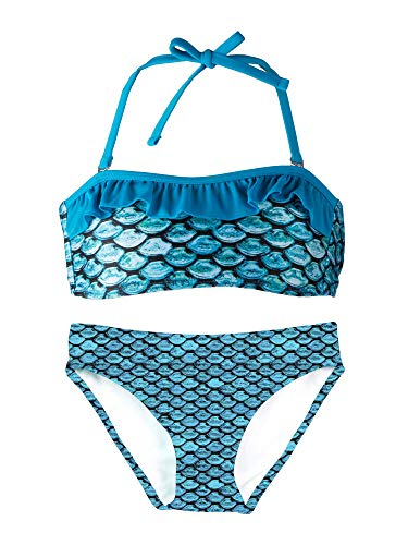 Fin Fun Bandeau Bikini Einstellen, Tidal Teal Oben, Tidal Teal Unterseite, Mädchen X - Am Besten Ariel Kostüm