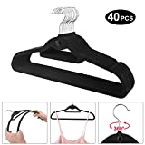 Dripex Velvet Clothes Hangers 40 x Coat Suit Trousers Hanger, Non-Slip Ultra Thin Flocked Clothes Racks with Notches & Bar Perfect for Space Saving