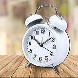 Schramm Doppelglockenwecker in Weiss mit Alarm und Nachtlicht Glockenwecker geräuschlos Quarzuhrwerk Wecker Retro Glockenwecker