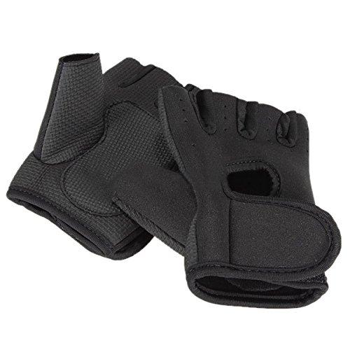 Gaoominy Neue Sportart Radfahren Fitness Gym halbe Finger-Handschuhe Gewichtheben uebung Training - Schwarz L