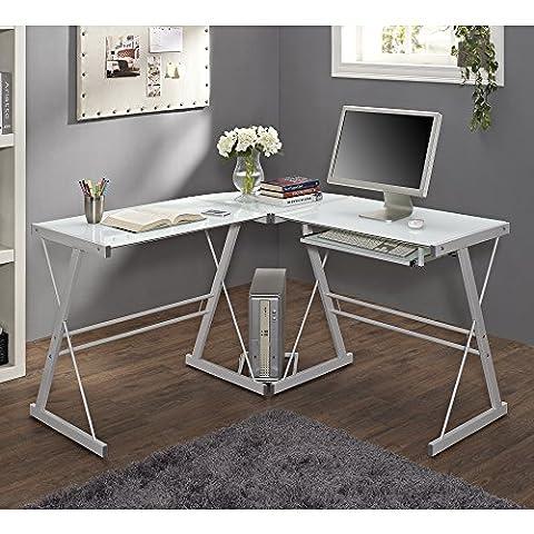 Walker Edison Furniture Soreno Metal Corner Desk, Glass, White, 3-Piece