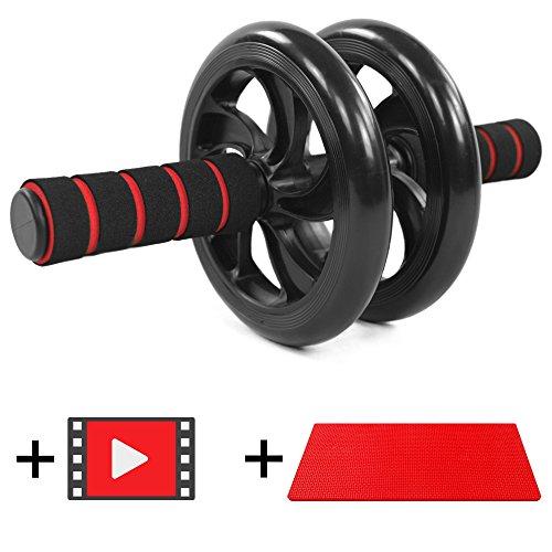 JUMP START Bauchtrainer AB Roller + deutsches Anleitungsvideo + komfortable Kniematte - Idealer Bauchmuskeltrainer für Muskelaufbau und Abnehmen - gepolsterte Griffe - hinterlässt keine Streifen