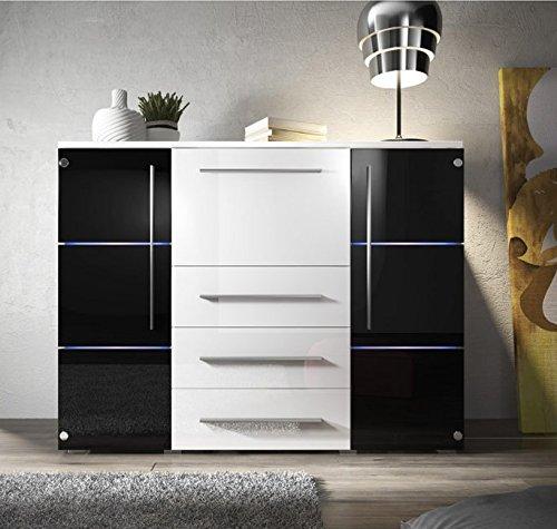 Muebles Bonitos - Aparador Palmira en color blanco y negro con LED