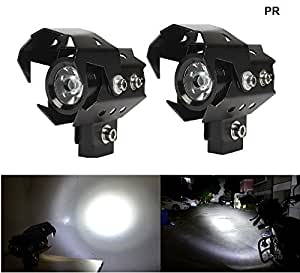 PR U8 LED Motorycle Fog Light Bike Projector Auxillary Spot Beam Light (Black, 2Pc) High Beam,Low Beam,Flashing Modes with and For Bajaj Pulsar AS 200