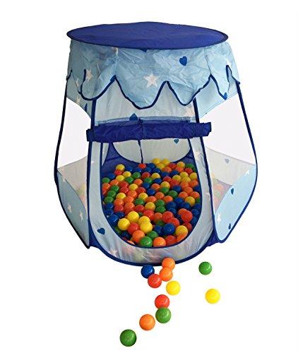 50 Stück bunte Bälle inkl. Zelt in Blau für Kinder, Babys und Tiere , 55mm Durchmesser