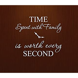 Innovative Stencils 1249 White Time Spent with Family is Worth Every Second Home Wall Decal Sticker Clock